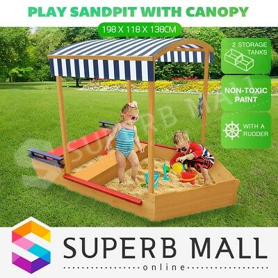 Kids Sand Pit Outdoor Play Set Sandbox Wooden Sandpit w/Canopy Children Toy