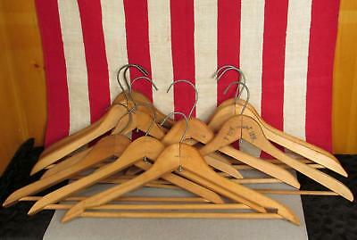 Vintage Antique Wooden Clothing Hangers Clothiers Standard Group of 10 Nice