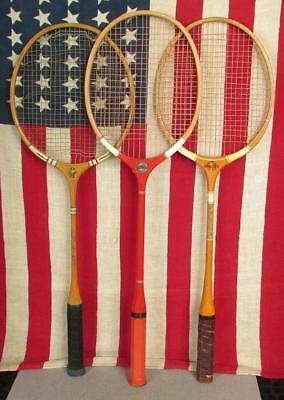 Sport Vintage Holz Badminton Schläger 3 Skyline/ Popular/ Court King Antik Wand Dekor