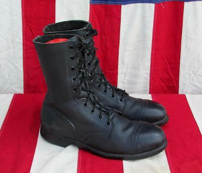 Vintage 1990s Black Leather Work Boots Steel Toe Cap ANSI Size 10.5 Great Shape