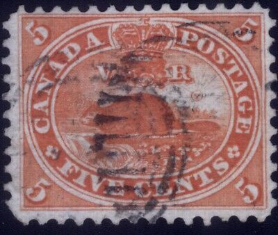"""Canada 1859 5 Cents Beaver """"Rock In The Waterfall"""" Scott #15vii - F/VF"""