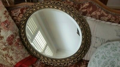Vintage french  style  oval wall mirror  gold frame