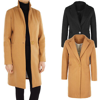 Cappotto Donna Lungo Cappottino Casual Invernale Cammello Nero Made in Italy c07d70413af