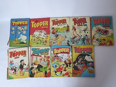 9 Vintage TOPPER Annuals various yeas including 1973 & 1975