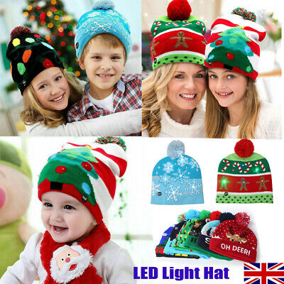 Children Adult XMAS Hat LED Light Winter Knitted Battery Hat Light Up Xmas Cap