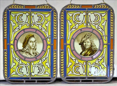PAIR antique Stained Glass windows nobleman medaillon portraits