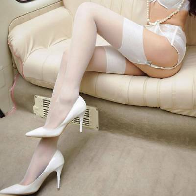 Women Wide Rib Top Cuff Sexy Stockings Transparent Silk Thigh High Stockings