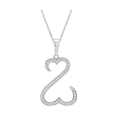 14k White Gold Over 925 Sterling Silver Round Diamond Open Heart Pendant 18""