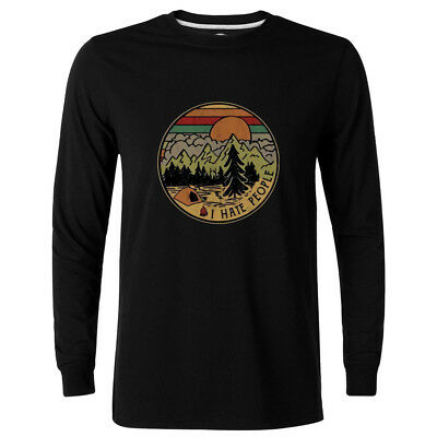 Camping I Hate People I Love Camping Vintage Black Cotton Long Sleeve T-Shirt