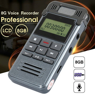 8G LCD Digital Voice Record Rechargeable Audio Recorder Dictaphone MP3 Player
