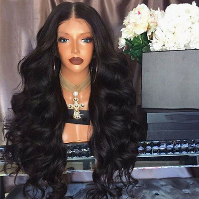 Black Curly Wavy Brazilian Remy Human Hairs Wave Silk Fronts Human Hair Wigs AU