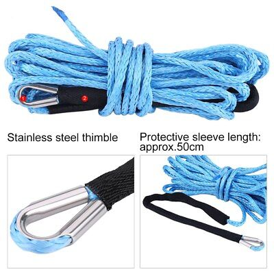 6600LBS Synthetic Winch Line Cable 1/4'' 50ft Rope with Sheath for SUV/ATV/UTV