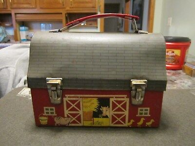 metal barn lunch box with thermos
