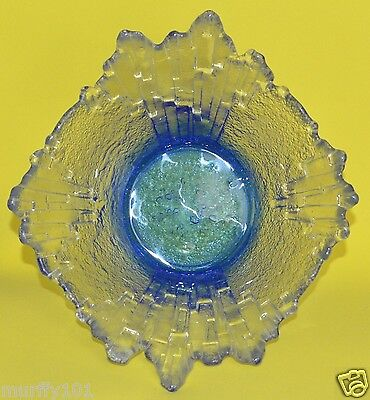 "VINTAGE RARE  NORTHERN LIGHTS Fused Clear / Blue Revontulet -  Humppila 9""  Bowl"