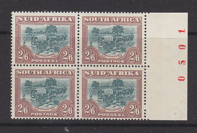 South Africa 1947 Sg 121 block of four with sheet number MH