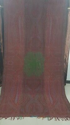 """Antique French Paisley Kashmir Design Shawl Woolen size 126""""By63"""""""