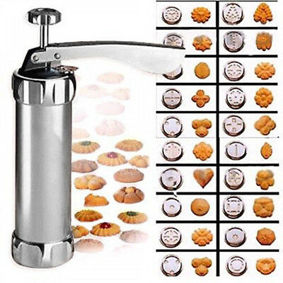 Stainless Steel Biscuit Maker Cookie Stamp Press Bakeware Tool + 20 Molds