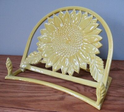 Yellow Enameled Sunflower Cook Book Stand 2009 O.d.i. Made In China