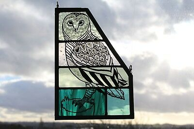 Owl on Beautiful Textured Green Glass. Hand Made Stained Glass Panel Owl Gift.