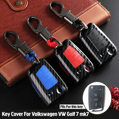 3 Button Carbon Fiber Remote Key Fob Shell Case Cover + Chain For VW Golf MK7
