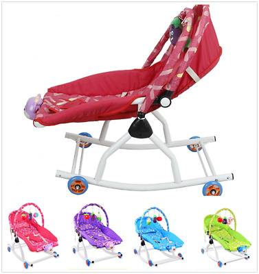 Baby Rocker Bouncer Reclining Chair Soothing Music Vibration 3 Toys 5 Colors UK