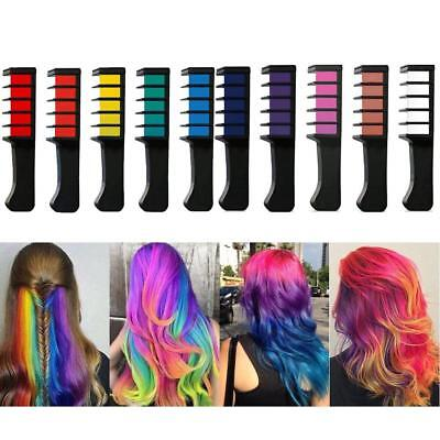 10Color DIY Hair Chalk Comb Washable Temporary Hair Dress up Chalk for Kid Adult