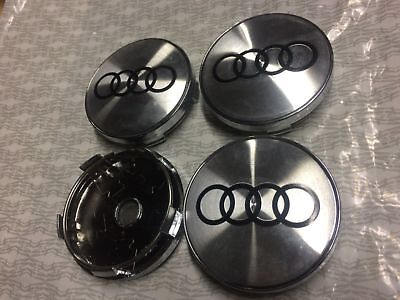 4x Audi Alloy Wheel Hub Centre Cap Set New Style Center Caps Silver / Black 60mm
