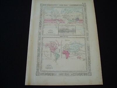 1864 Johnson Atlas Map World Meteorology Climate Change Plants Genuine Antique