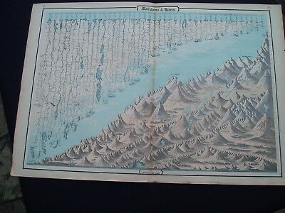 1864 Johnson Atlas Map Print World Mountains and Rivers Genuine Antique