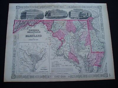 1864 Johnson Atlas Map Maryland and Delaware Genuine Antique