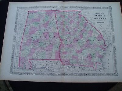 1864 Johnson Atlas Map Georgia and Alabama Genuine Antique
