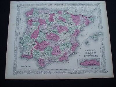 1864 Johnson Atlas Map Spain Portugal Madrid Lisbon Europe Genuine Antique