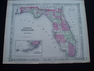 1864 Johnson Atlas Map Florida and Florida Keys Genuine Antique