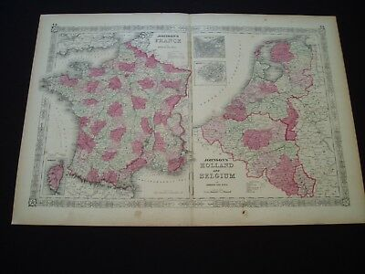 1864 Johnson Atlas Map France Netherlands Holland Belgium Genuine Antique