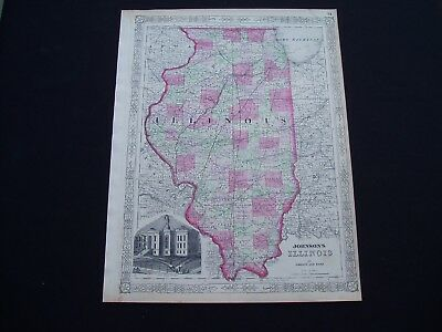 1864 Johnson Atlas Map Illinois Genuine Antique