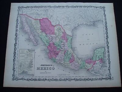 1864 Johnson Atlas Map Texas New Mexico Arizona Territory Genuine Antique