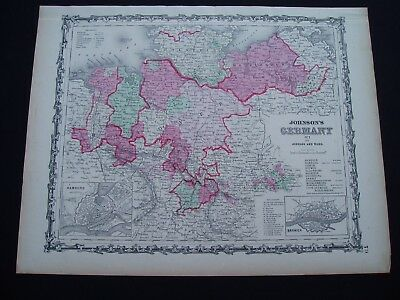 1864 Johnson Atlas Map Germany Denmark Europe Prussia Genuine Antique