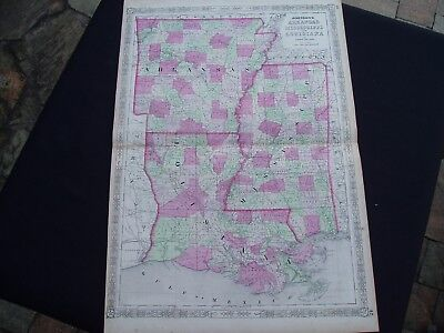 1864 Johnson Atlas Map Louisiana Mississippi Arkansas Genuine Antique