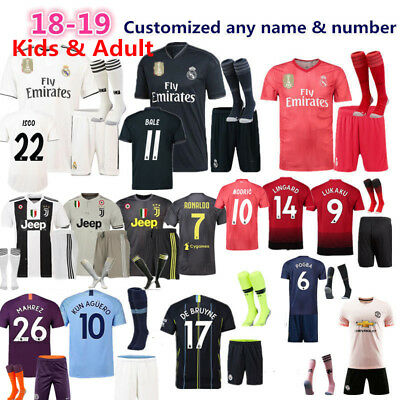 2018/19 Boys Men Football Full Kit Youth Jersey Strips Kids Soccer Sports Outfit