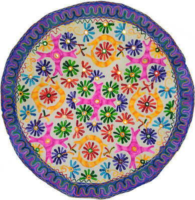 """Bohemian floral embroidery work home decor round table cloth throw tapestry 35"""""""