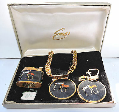 New NOS Antique EVANS Mask Masquerade Lighter Key Chain & Bracelet Set w Box R52