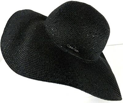 7200f3502fd NWOT Calvin Klein Hat Panama Black Sequined Spell Out Logo One Size MSRP  48