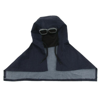 Sand Proof Blasting Protective Denim Face Mask Hood Cap with Glasses Goggles