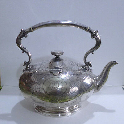 Large Elkington Silver Plated Victorian Teapot. Hinged Lid. Makers Marked