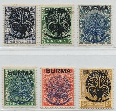 Burma japanese Occupation 1942 selection of 6 peacock ovpt stamps mint OG