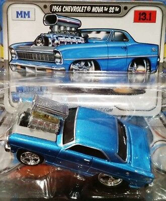 Maisto 66 1966 Chevy Chevrolet Nova Ss Muscle Machines Original Blown Car Blue