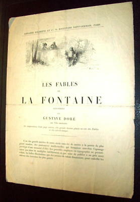 FABLES DE LA FONTAINE 1889 GRAVURE GUSTAVE DORE Document promotionnel HACHETTE