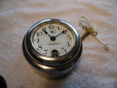 Antique New Haven Car Clock early 1900s  Works with Key, Chrome, Ford Auburn etc