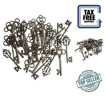 30-Pack Vintage Old Look Skeleton Keys Black Large Antique Keys