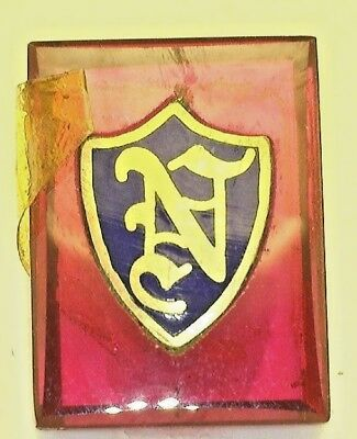 """NOS Antique Vintage Deco Red  Rectangle Stone w/ Initial """" N """" Old English  #B3"""
